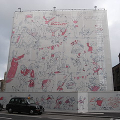 Quentin Blake wall near St. Pancras, London