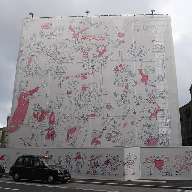 Quentin Blake wall near St. Pancras