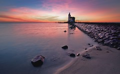 Lighthouse (JaccoH) Tags: sky lighthouse water sunrise landscape sand rocks canon5d marken jacco paardvanmarken jaccoherzog newexposure