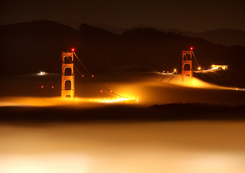 Golden Gate Bridge on a Foggy Night