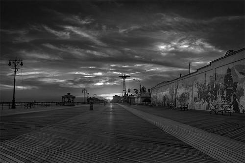 Coney Island boardwalk sunset