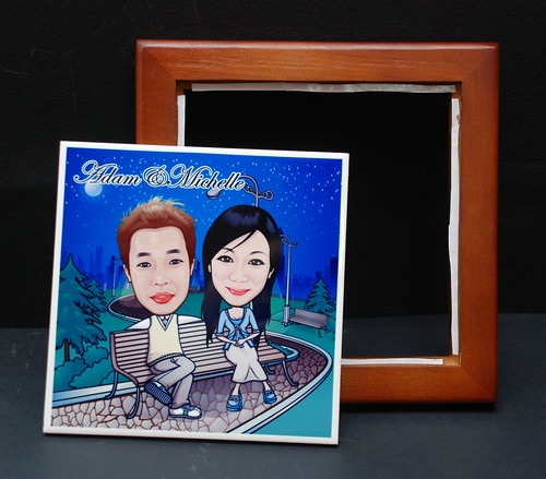 caricatures on ceramic tile with frame 4