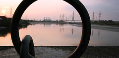 "River Dee ""through the hoop"" (Stu Worrall Photography) Tags: bridge sunset station docks hoop river landscape power quay dee flintshire connahs"