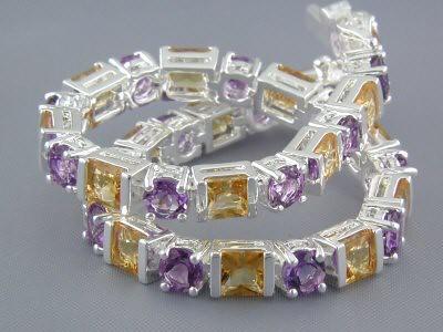 11.00 cts Citrine Amethyst Sterling Silver Bracelet