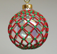 Red with Green Beaded Netting Ornament