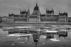 The reflection of the Hungarian Parliament on drifting ice (Majorimi) Tags: canon eos 70d digital color colorful nice hungary budapest danube cold ice gray winter bridge river water reflection chain bw black white hdr parliament architecture