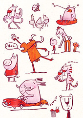 brush pen doodles (Fred Blunt) Tags: animals random doodle characters quirky brushpen fredblunt