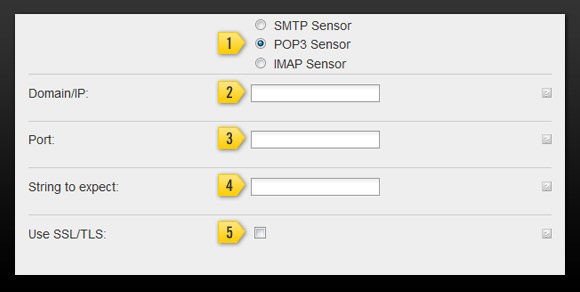 Settings for POP3 and IMAP monitoring