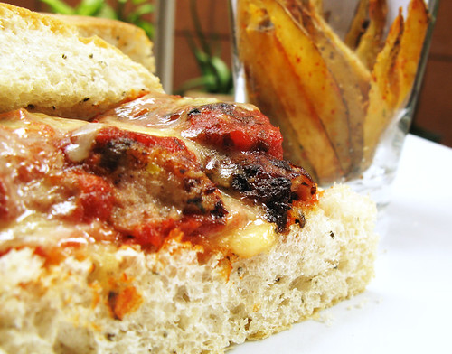Meatball Sandwich and Togarashi Fries (close-up)