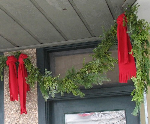 Red scarf garland ties