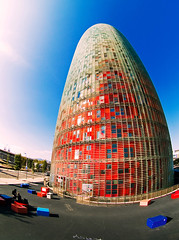 Leaning Tower of Barcelona (Sator Arepo) Tags: barcelona tower reflex olympus fisheye leaning zuiko hdr agbar e500 uro 8mmed zd8mmfish35 retofez100525 gettyimagesspainq1 iberiastreets gettyimagesiberiaq2 gettyimagesiberiaq3