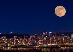Vancouver Skyline (Lloyd K. Barnes Photography) Tags: city moon composite night vancouver photoshop cityscape nightscape full fullmoon views fv10 bluehour views1000 abigfave impressedbeauty lloydbarnes lloydkbarnes