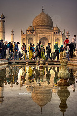 Taj Mahal (arturii!) Tags: trip travel people india color reflection water fountain beautiful wow wonderful landscape mirror amazing nice perfect eau live delhi taj mahal tajmahal agra tourist symmetry tumba national vida espejo font viatge al