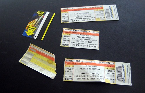 Random Collection of Concert Tickets Found While Cleaning