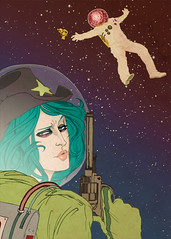 Space Cowgirl. (Annie Wu.) Tags: illustration digital photoshop gun cowgirl bluehair spacesuit raygun digitalillustration digitalcoloring