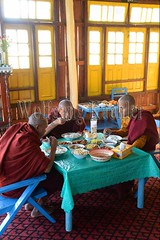30098673 (wolfgangkaehler) Tags: asia asian southeastasia myanmar burma burmese inlelake taungtovillage villagelife villagescene village people person monastery monasteries buddhism buddhist buddhistmonk buddhistmonks buddhistmonastery buddhistmonasteries monk monks eating