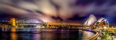 Sydney harbour at night (JohnNguyen0297 (slowly catching up)) Tags: sydneyharbor sydneybridge sydneyopera operahouse sydney longexposure ilce6000 johnnguyen0297 a6000 clouds streaks cloudstreaks johnnguyen johnthecruiser selp18105
