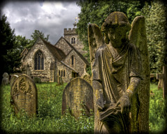 Dear Diary... (strussler) Tags: england church monument cemetery statue angel photoshop canon eos zoom sigma wideangle surrey gravestone 5d churchyard guildford hdr stmarys lightroom 1735mm 13thcentury 3xp photomatix tonemapped worplesdon