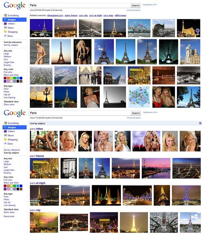 La catégorisation des résultats de recherche sur Google Images