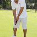 Nick Lachey golfing with his white iRenew Bracelett
