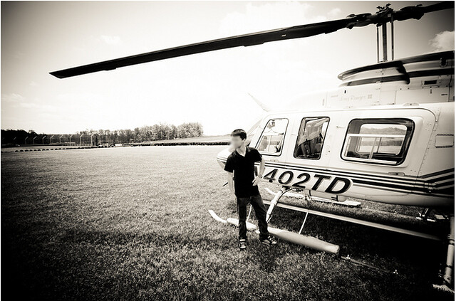 with his helicopter