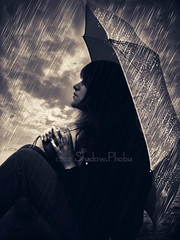 Wait for the down (shadowphobia photography) Tags: shadow portrait liz girl rain umbrella self phobia proudshopper hiddenyetbeautiful