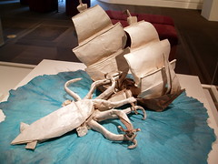 Origami Giant Squid and Ship