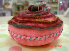 cottoncandy1 (sheysd1) Tags: pink wool felted handmade pincushion embroidered straightpins