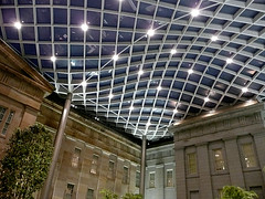 Kogod Courtyard Evening (outtacontext) Tags: art museum architecture smithsonian american opening lattice kogod kogodcourtyard