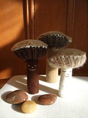 mushroom trio (knitalatte11) Tags: people wool alpaca mushroom forest knitting handmade felt softies theme cashmere sa2food