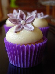 Mini Champagne Cupcake (cupcaketastic) Tags: white flower cheese cupcakes engagement hummingbird purple chocolate champagne ivory creamed pearl