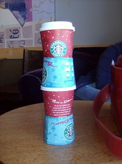 starbucks cups stack in o rings  2 (Doug Golden) Tags: cups stacked