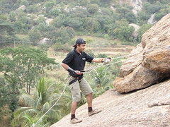 Rappelling (aanjhan) Tags: trekking bangalore rappelling rbin ramnagar chimneyclimbing