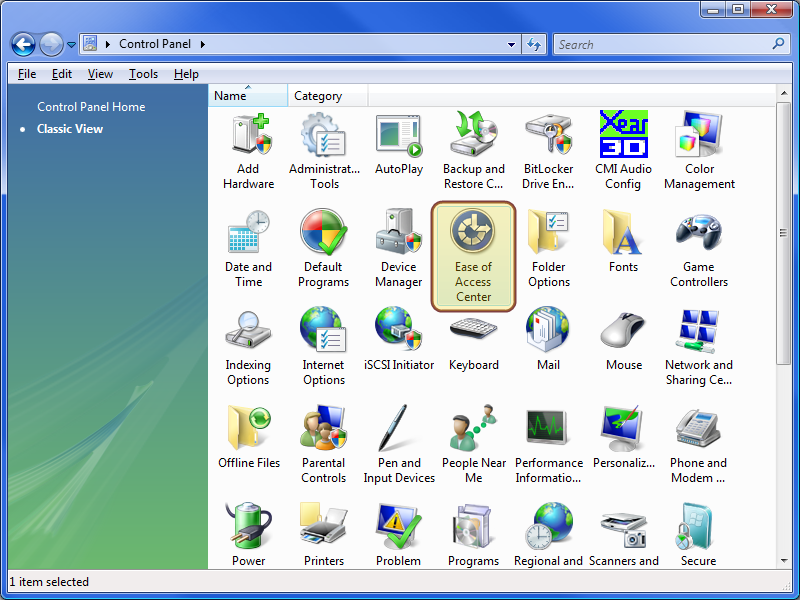 Vista Control Panel (Classic)