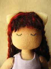 cat girl head (ccyytt) Tags: girl cat stuffed doll purple handmade craft sew cotton gift cloth