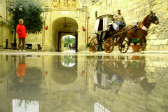 chronology (maybemaq) Tags: people horse reflection castle water speed puddle gate carriage time cloudy malta medieval stagecoach mdina chronology eyewashdesign