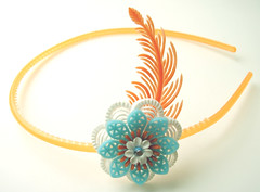 Orange, Blue and White Vintage Flowers Headband
