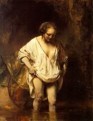 rembrandt, hendrickje, bathing, 1655, woman, underwear, soft, tender