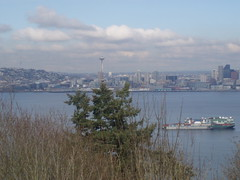 view of the needle and a ship in the sound (amber10_79) Tags: seattle alki ber
