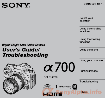 Sony Aplha DSLR-A700 User Manual