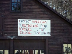 Protect Americans (Svadilfari) Tags: ri sign america bush garage fear protest rhodeisland stop american illegal americans latino paranoid hispanic redwhiteandblue outofplace clapboard whack jerk protect plastered bordercontrol whacking loudobbs biased illegalimmigration bushwhacking antiimmigration chepachet nationalborder xenophopic chepachetri nationalborders chepachetrhodeisland undocumentimmigrants