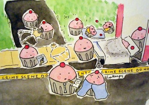 Custom order--crime scene cupcakes