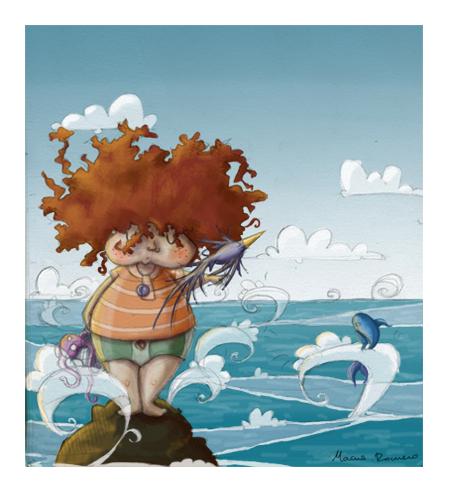 gordito with a bird in a roca of the sea.