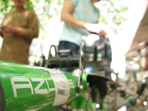 Marija's AZUB recumbent in Urumqi, Xinjiang Province, China