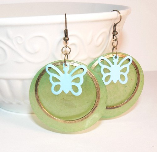 Gold, Emerald Circle, Butterfly Earrings  #3731