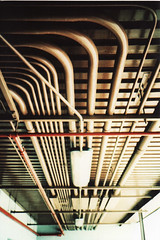 Tubes (R.A.Jimnez) Tags: red white 35mm crossprocessed tubes cream poles olympusxa2 walgreens connection fujicolorsensia400isoslidefilm