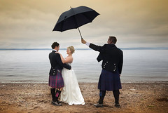 The Singing Best Man (gms) Tags: wedding copyright art beach umbrella bride clyde couple marriage stiletto bestman bridegroom plagiarism ayrshire largs weddingphotography vettriano jackvettriano thesingingbutler