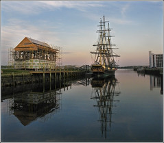 The Calm At Day's End (Camerist Obscured) Tags: evening friendship dusk massachusetts calm northshore salem tallship underconstruction derbywharf eastindiaman canona630 119highestinexploreon51709