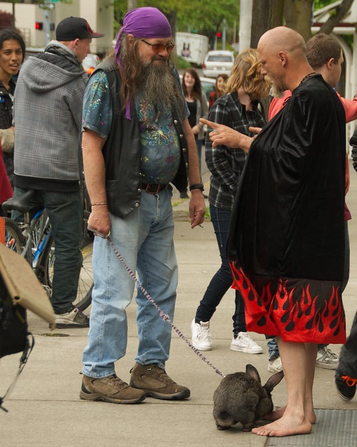 hippie biker with a bunny and a warlock