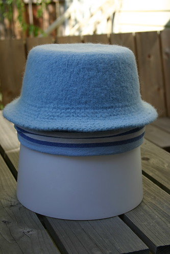 Felted bucket hat (post-felting, blocking)